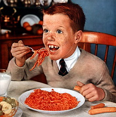 Ginger Kids!! (MsBlueSky) Tags: children weird milk kid fifties ad creepy advertisement 1950s hotdogs 50s freckles spaghetti redhaired
