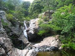 Les cascades descendant de la vasque supérieure des villageois de San Gavinu - ou vasque des canyo-niqueurs