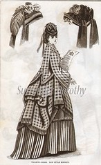 Walking Dress New Bonnets Victorian Fashion 1871 (SurrendrDorothy) Tags: old ladies blackandwhite woman paris france art home girl hat fashion lady female illustration vintage print clothing pain women europe antique feminine maine victorian bondage retro ephemera waist victoriana 70s corset etsy gown 1970s bonnet decor seventies groovy homedecor steampunk cinch artfire homegoods surrenderdorothy internationalshipping raymondmaine lateststyle zibbet