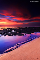 Satisfaction (Fakrul J) Tags: sunset seascape reflection vertical malaysia slowshutter penang 2011 glorioussunset cokinndgrad hoyahdcircularpolarizer phottixremoteshutter manfrotto055xprobmanfrotto498rc2 canoneos500dcanonefs1022mmf3545usm pantairobina