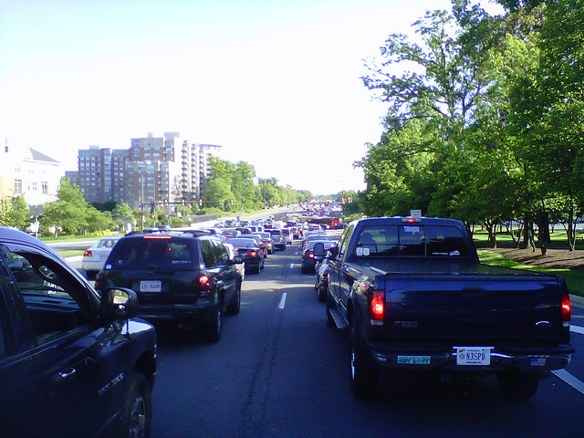 Traffic at Standstill, Looking South at Reston Parkway & Market Street, Reston Town Center