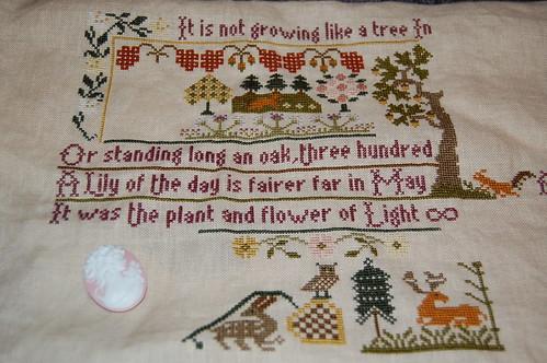 Growing Like a Tree ~ Moira Blackburn sampler WIP