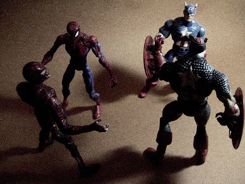 Spidey and Cap vs. their Zombie Versions