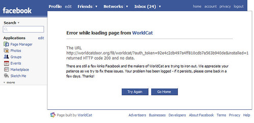 facebook worldcat error