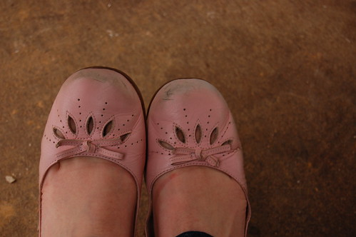 pink shoes well worn
