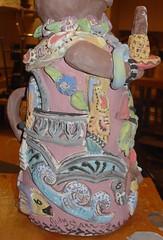 Josephina a work in progress (Judy Starr) Tags: ocean nyc flowers shells fish leaves birds cat feline ceramics artist waves columns kitty clay mermaids pottery pineapples judystarr folkartsculpture