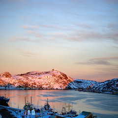 Signal Hill & St. John's Harbour Sunset (Michael A. Blanchard) Tags: winter sunset sky snow water photoshop newfoundland landscape boats stjohns blanchard signalhill lightroom waterscape cabottower cs3 photomatix stjohnsharbour