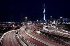 Spaghetti Junction (Chris Gin) Tags: city longexposure light newzealand night traffic motorway trails clear auckland freeway nz skytower lightstream spaghettijunction