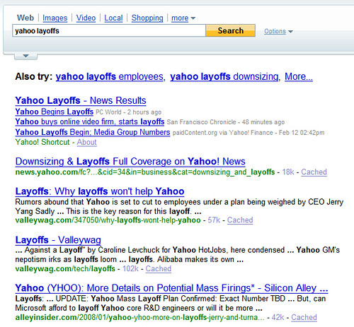 Yaho Layoffs On Yahoo