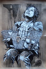 C215 - Heroin (C215) Tags: uk portrait streetart art illustration subway french graffiti newspaper stencil friend antique gina christian gift british pochoir masacara szablon c215 asboluv schablon gumy piantillas guemy