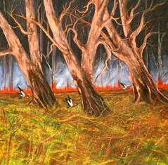Grass fire --Oilon canvass 60 by 60cm (moslihh) Tags: trip travel summer tree bird art painting fire post smoke australia oil impressionism gree oilpainting kabul herat afganistan hashmat moslihh