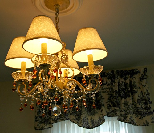 Renovation: small chandelier with toile curtains