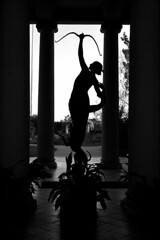 Bow (elsief1) Tags: blackandwhite girl silhouette statue huntingtonlibrary bow beginnerdigitalphotographychallengeswinner beginnerdigitalphotographychallengewinner