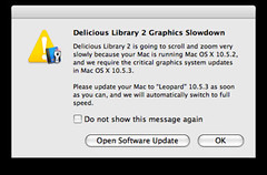 Delicious Library lives in the future (swanksalot) Tags: macintosh screenshot mac library leopard software deliciouslibrary 1053 softwareupdate swanksalot sethanderson