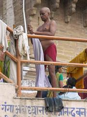 Red Langoti (amiableguyforyou) Tags: india men up river underwear varanasi bathing dhoti oldmen ganges banaras benaras suriya uttarpradesh ritualbath hindus panche bathingghats ritualbathing langoti dhotar langota