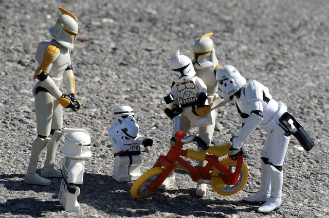 If the Clones are going to bike they need an extra helmet