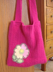 Pink Felted Sweater Bag