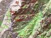 Carte du canyon du Pulischellu à Bavella avec le Giru di Vangoni et les variantes de montée