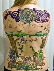 My Back ~ Session 8 (Kerrie Lynn Photography (Sugaree_GD)) Tags: flowers trees moon man mushroom face tattoo forest stars back fat butterflies tattoos fairy 500v50f multiple rolls swirls fairies piece kerrie faeries backpiece fae amybrown 25000views staceysharp sugareegd geminitattoo inkalternative keirwells