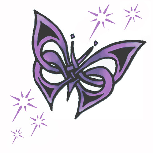 Purple butterfly tattoo w/stars. Edited colours and stars added - possibly a