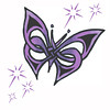 Purple butterfly tattoo w/stars Edited colours and