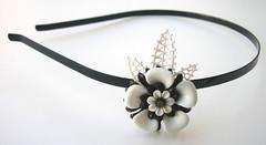 Black and White Vintage Flowers Headband