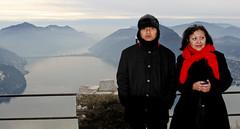 Tourists at Mt. Bre summit (Ramon2002) Tags: mountain lake switzerland ticino bre lugano