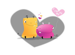 Me & my Love! (Leizelle) Tags: pink black cute love feet yellow design drawing lovers doodle cuddle
