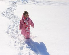 The Explorer Wore Pink (Lyle58) Tags: pink blue shadow white snow cold scarf bright coat daughter tracks footprints joanna thinkpink mortonarboretum snowpants abigfave pinkalicious ilovemypic