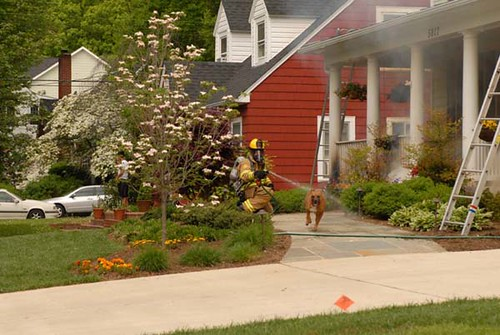 NIH Firefighters first on the scene of a house fire in Bethesda, MD