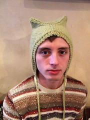 jesse in a cat hat (staceyjoy) Tags: wool brooklyn jesse knitting kittyhat redlipstick cathat incongruous
