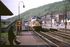 Erie-Lackawanna Local at Suffern, New York, 1966 (brooklynparrot) Tags: newyork diesel trains railroads e8 suffern emd erielackawanna