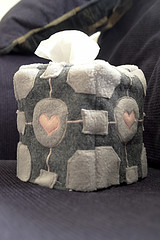 Weighted Companion Cube Tissue Box Cover (Sappymoosetree) Tags: justin game toy day box tissue sew plush cover gift cube valentines block companion weight weighted