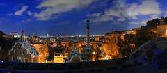Barcelona seen from Park Gell at night (MarcelGermain) Tags: barcelona city blue sky panorama orange architecture night clouds buildings bench geotagged nikon europe dusk pano catalonia catalunya guell myfavourites parc grcia nit antonigaudi parkgell d80 marcelgermain