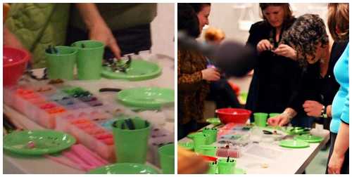 Craft table in action during the Bead Simple event