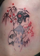 P1290126M - Geisha (color) (hypersapiens) Tags: flowers toronto girl tattoo ink grey little bamboo tattoos wash geisha kimono tatoo tatu imagem tatuagem tatuages tattoosbysoo