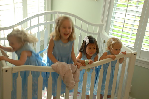 Four little monkey jumping in the crib
