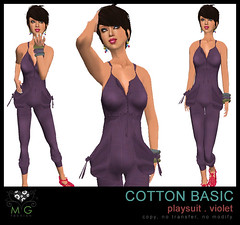 [MG fashion] Cotton Basic Playsuit (violet)