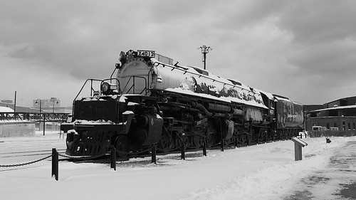 Union Pacific Big Boy 4012 In The Snow Black and White!