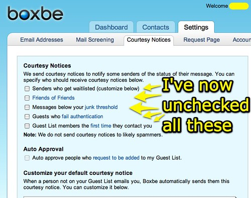 Boxbe: Courtesy Notices UNCHECKED
