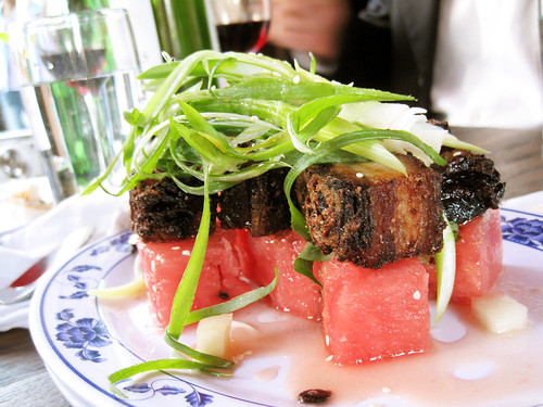 pickled watermelon & crispy pork @ fatty crab