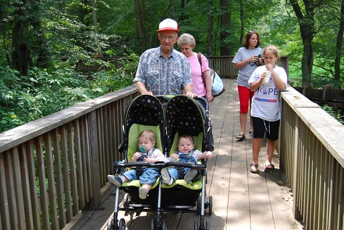 Great-Grandpa on stroller duty