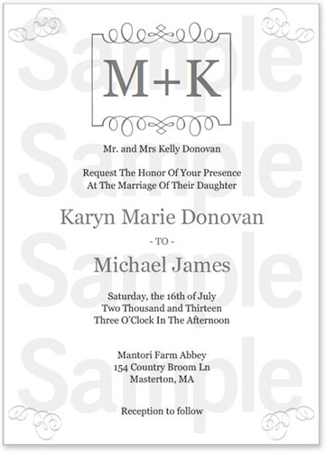 Monogram Wedding Invitation Template
