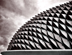 Esplanade (pinkass(slow)) Tags: shadow sky blackandwhite abstract colour building lines architecture photography design nikon singapore rustic dramatic architectural esplanade thorns soe pritzker colourization d80 durain mywinners shieldofexcellence anawesomeshot ysplix excellentphotographerawards