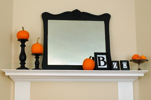 Dining room mantel Halloween style.