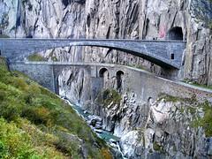 REU240 Devil's Bridges over the Reuss River, Schöllenen Gorge, Andermatt, Uri, Switzerland (jag9889) Tags: schweiz svizzera suiza brücke puente swiss pont devils reuss river teufelsbrücke göschenen andermatt stone arches schöllenen stgotthard kanton uri scenic historic google switzerland svizra ch bridge crossing ponte bridges suisse ebay y2007 jag9889 2007 nia