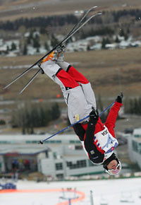 Alexandre Bilodeau jumps second in dual mogals (Credit:Mike Ridewood)