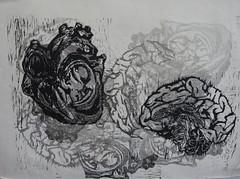 heart/brain, linocut