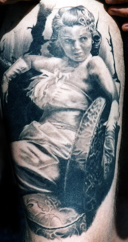 Mistress by Independent Tattoo. Black and gray tattoo by Matthew Amey