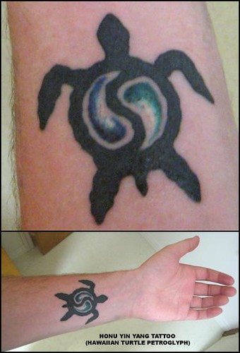 "honu yin yang tattoo. Tattoo I got in Hawaii based on a turtle (""honu"" in"